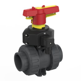 Praher 2-way Ball Valve M1 PVC-U with Position Feedback