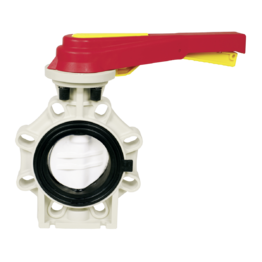 Praher Butterfly Valve K4 PVDF with Hand Lever