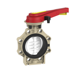 Praher Butterfly Valve K4 PVDF with Hand Lever and Position Feedback