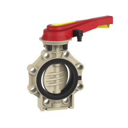 Praher Butterfly Valve K4 PP with Hand Lever and Position Feedback