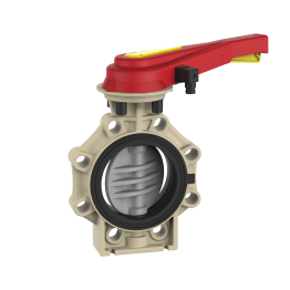Praher Butterfly Valve K4 CPVC with Hand Lever and Position Feedback