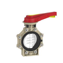 Praher Butterfly Valve K4 PVDF with Hand Lever and Lug Type