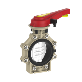 Praher Butterfly Valve K4 PVDF with Hand Lever, Position Feedback and Lug Type