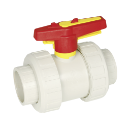 Praher 2-way ball valve S4 PP, beige, red and yellow