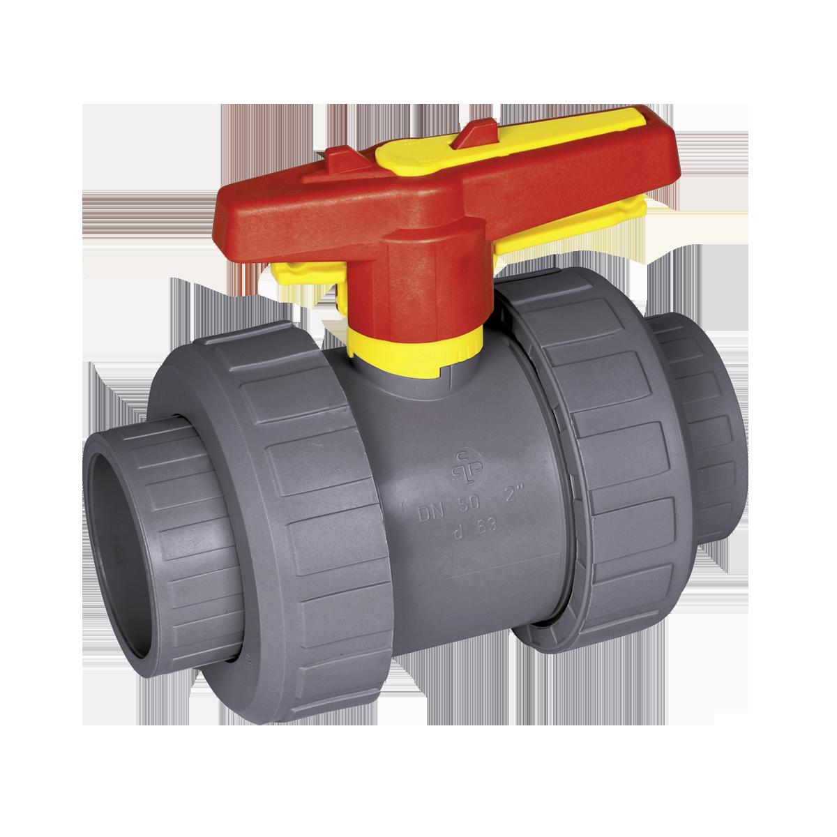 Praher 2-way ball valve S4 PVC-C, grey, red and yellow