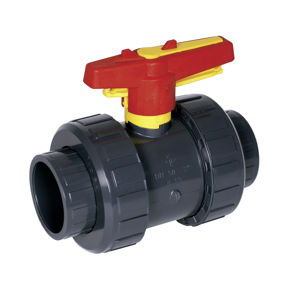Praher 2-way ball valve S4 PVC, grey, red and yellow