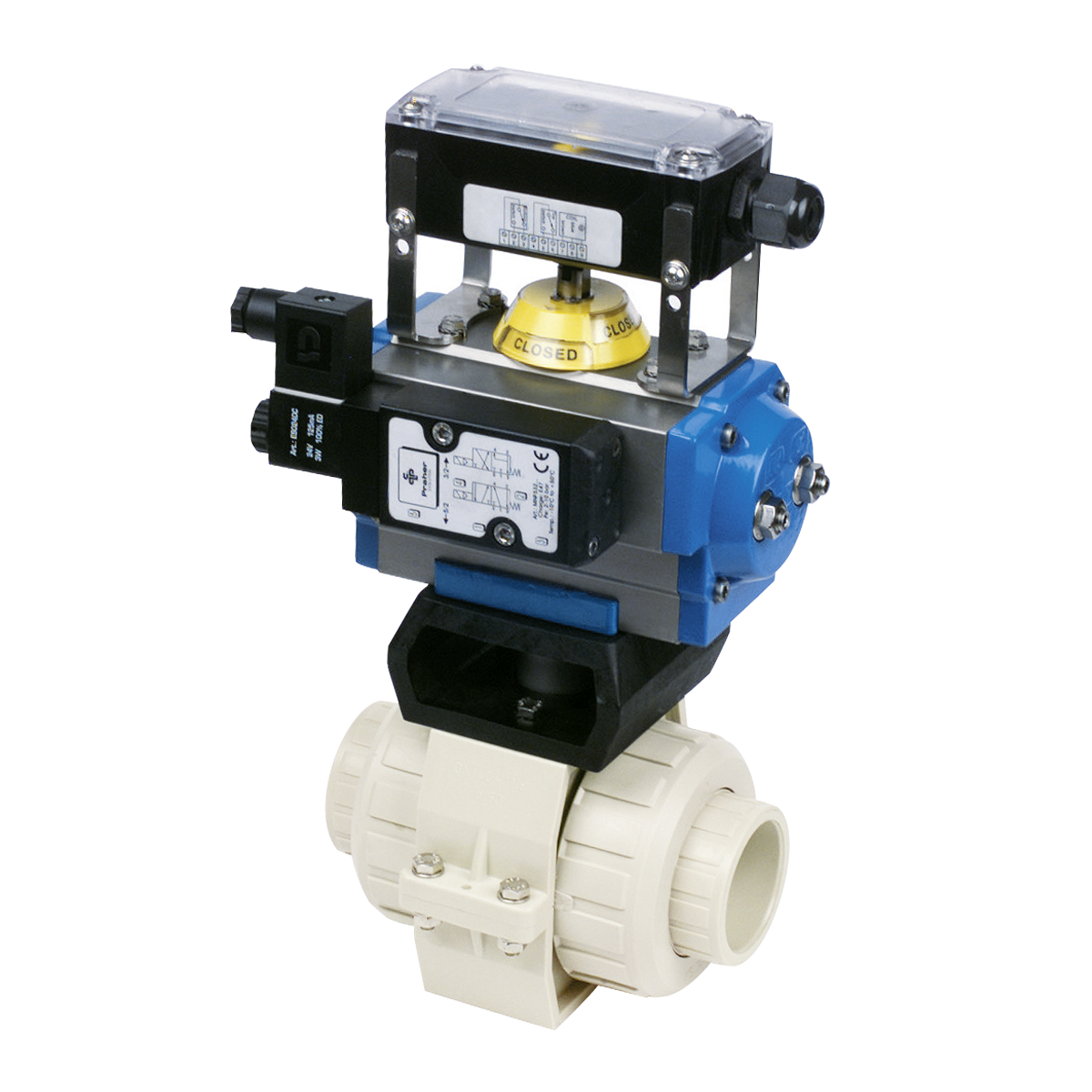 Praher 2-way ball valve S4 PP with pneumatic actuator, beige, balck , grey, blue