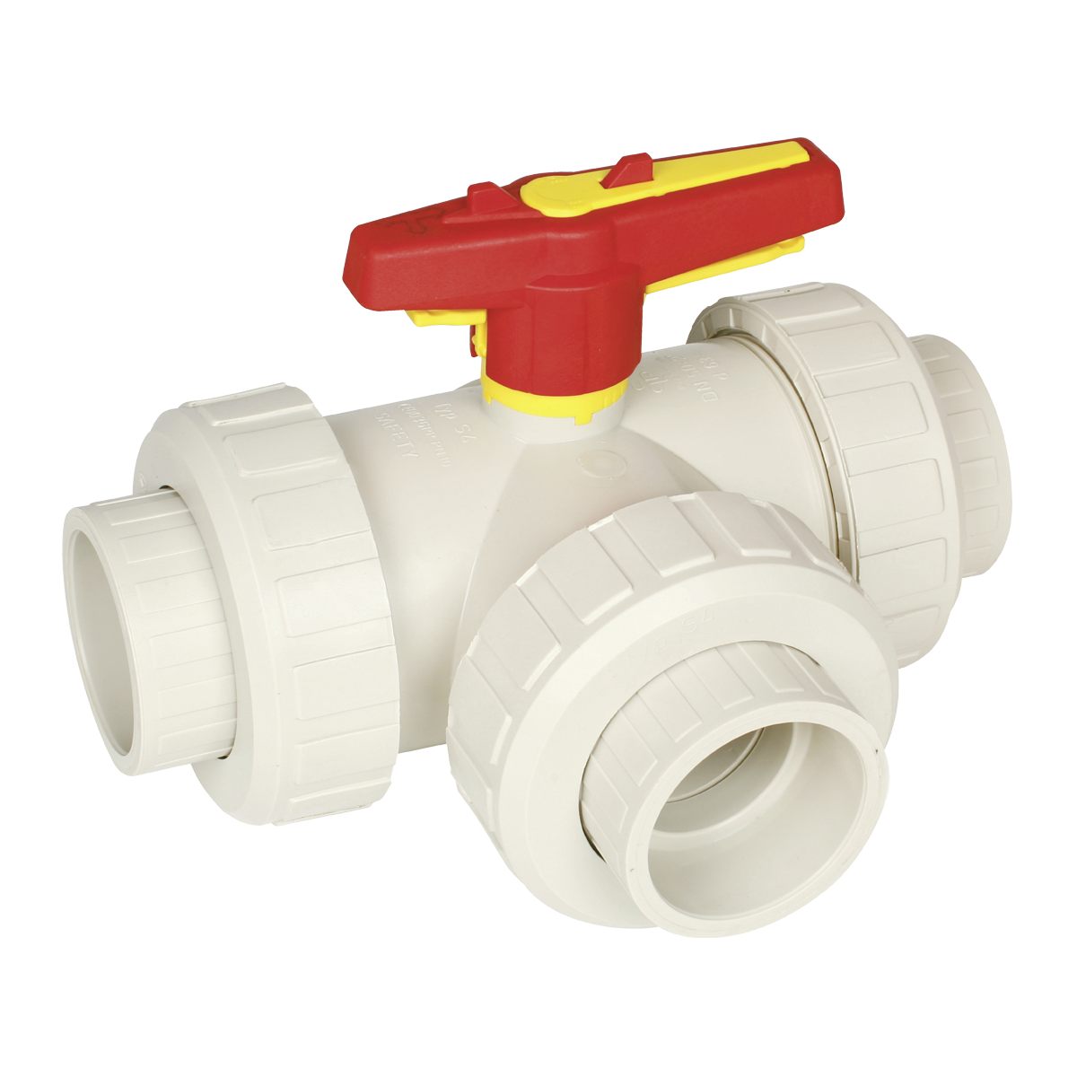 Praher 3-way ball valve S4 PP, beige, yellow, red