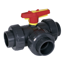 Praher 3-way ball valve S4 PVC, grey, yellow, red