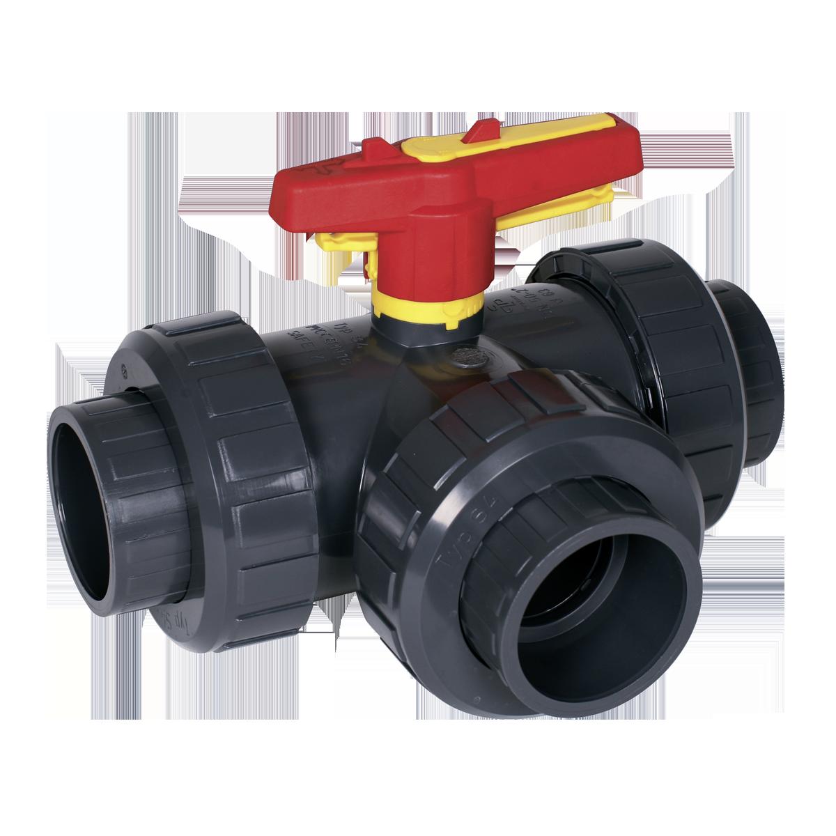 Praher 3-way ball valve S4 PVC, grey, yellow, red
