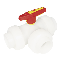 Praher 3-way ball valve S4 PVDF, white, yellow, red