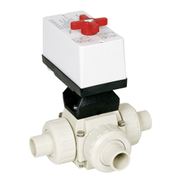 Praher 3-way ball valve S4 PP with EO510 actuator, beige, black white and red