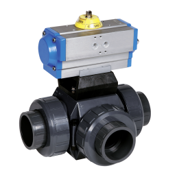 Praher 3-way ball valve S4 PVC with Valpes-actuator, grey, black, blue