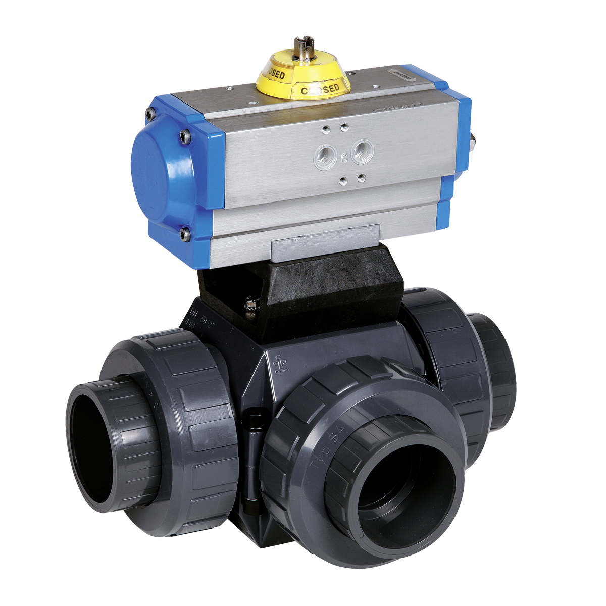 Praher 3-way Ball Valve S4 PVC-U Pneumatic Actuator - Praher