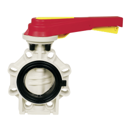 Praher Butterfly valve K4 PP, black, beige, red, yellow