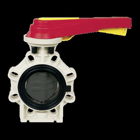Praher butterfly valve K4 PVC, grey, red, yellow
