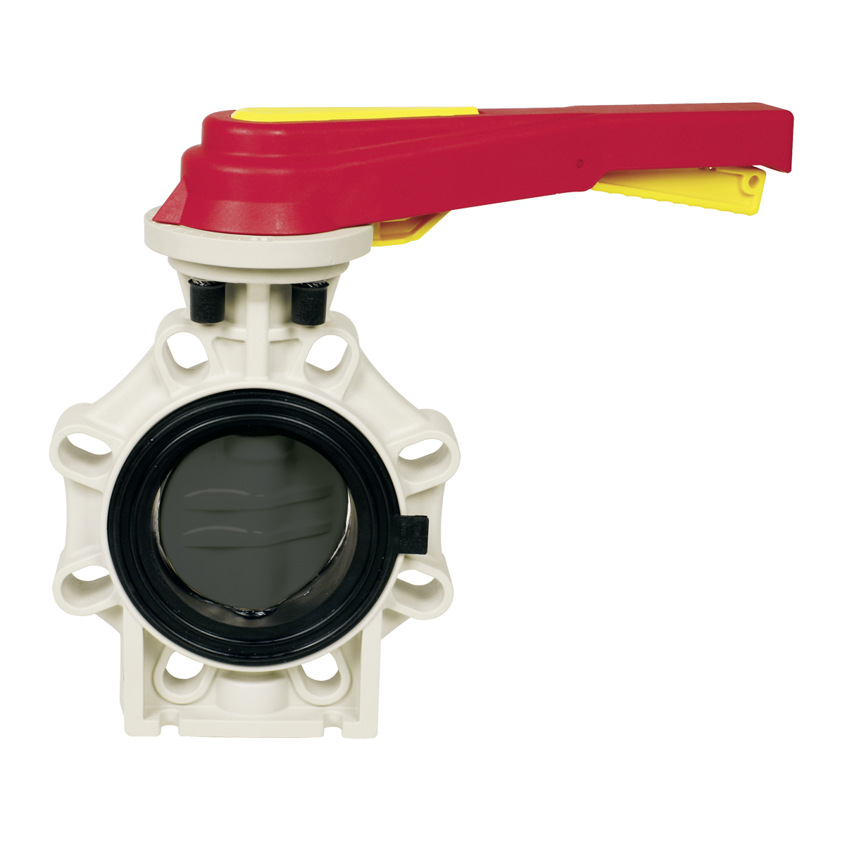 Praher butterfly valve K4 PVC, grey, red, yellow