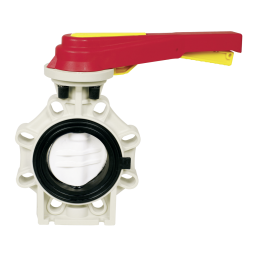 Praher butterfly valve K4 PVDF, white, red, yellow