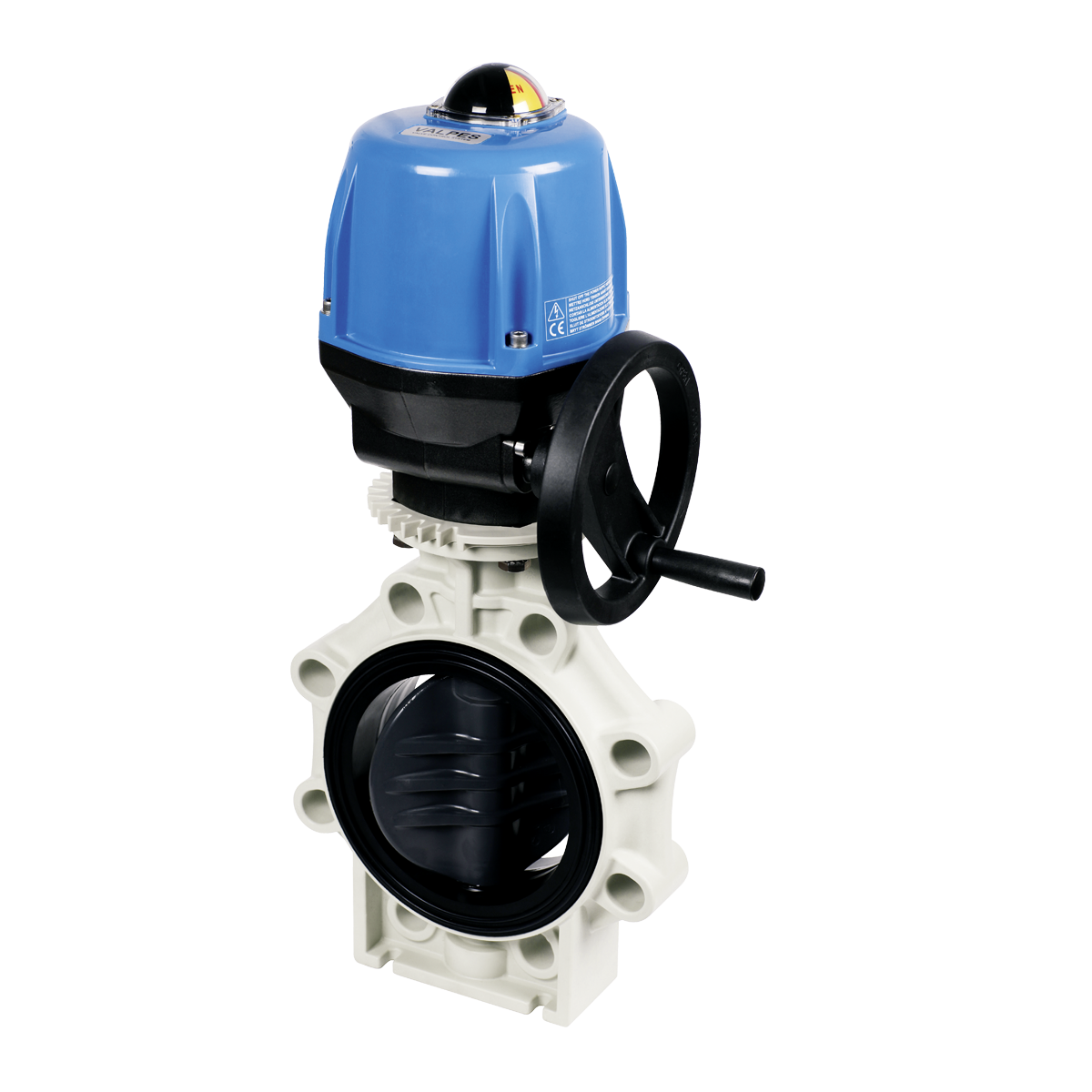 Praher butterfly valve K4 PVC with Valpes actuator, grey, black, beige, blue