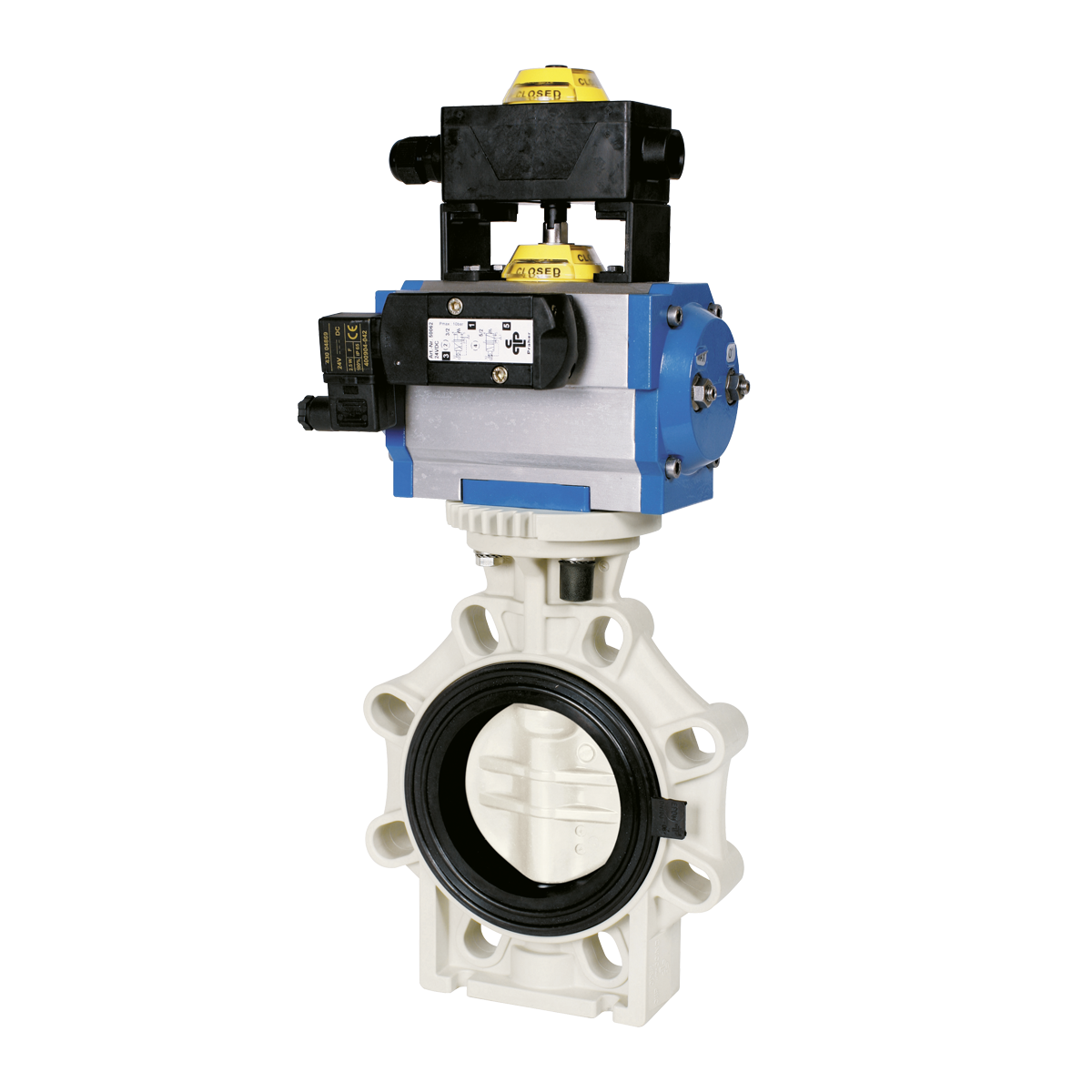 Praher Butterfly valve K4 PP with pneumatic actuator, beige, black, blue, yellow