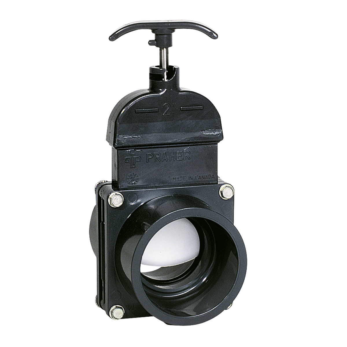 Praher Knife gate valve PVC, grey