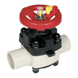 Praher diaphragm valve T4 PP with spigot, beige, black, red