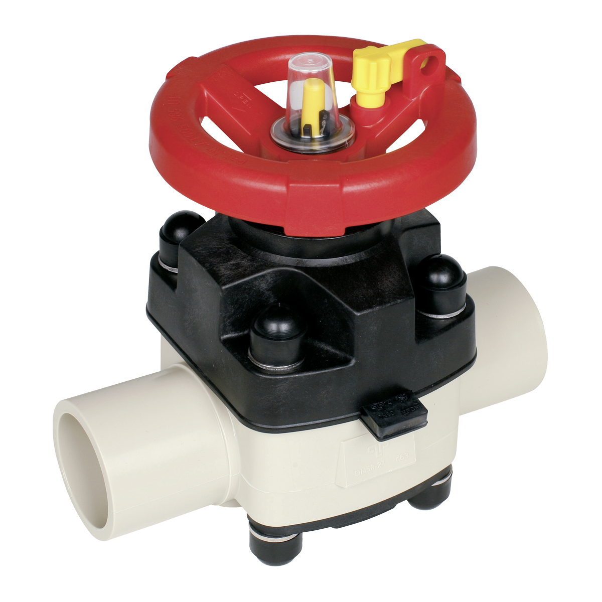 Praher diaphragm valve T4 PP with spigot, beige, black, red