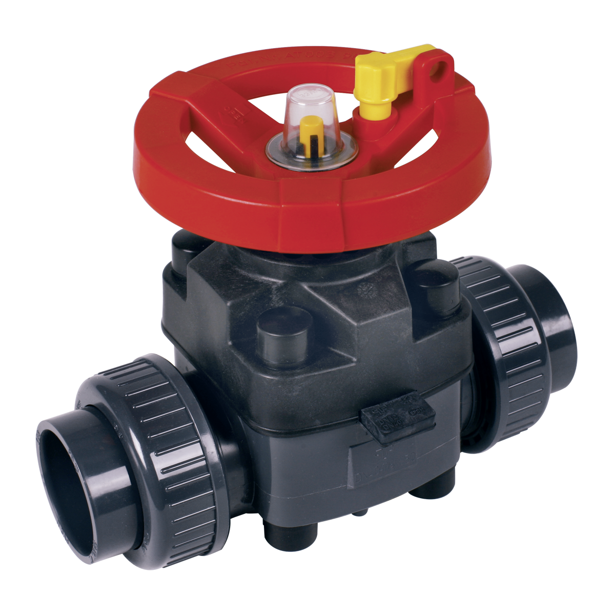 Praher diaphragm valve T4 PVC with socket, grey, red, yellow