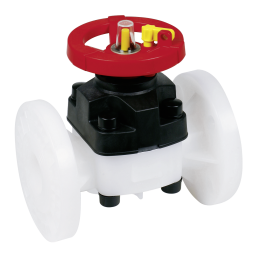 Praher diaphragm valve T4 PVDF with flange, white, black, red
