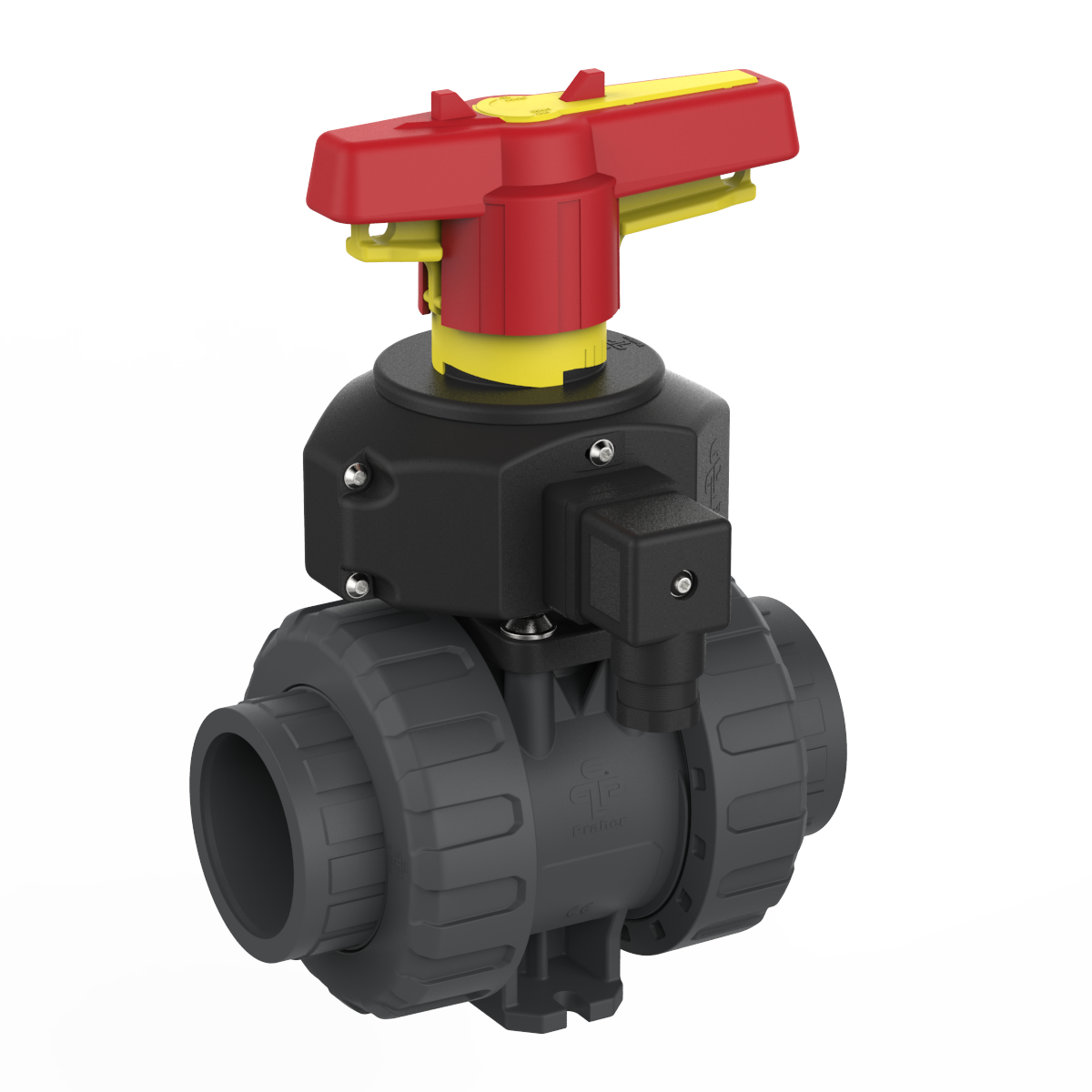Ball Valve M1-DN40-PVC with position feedback, grey, yellow and red
