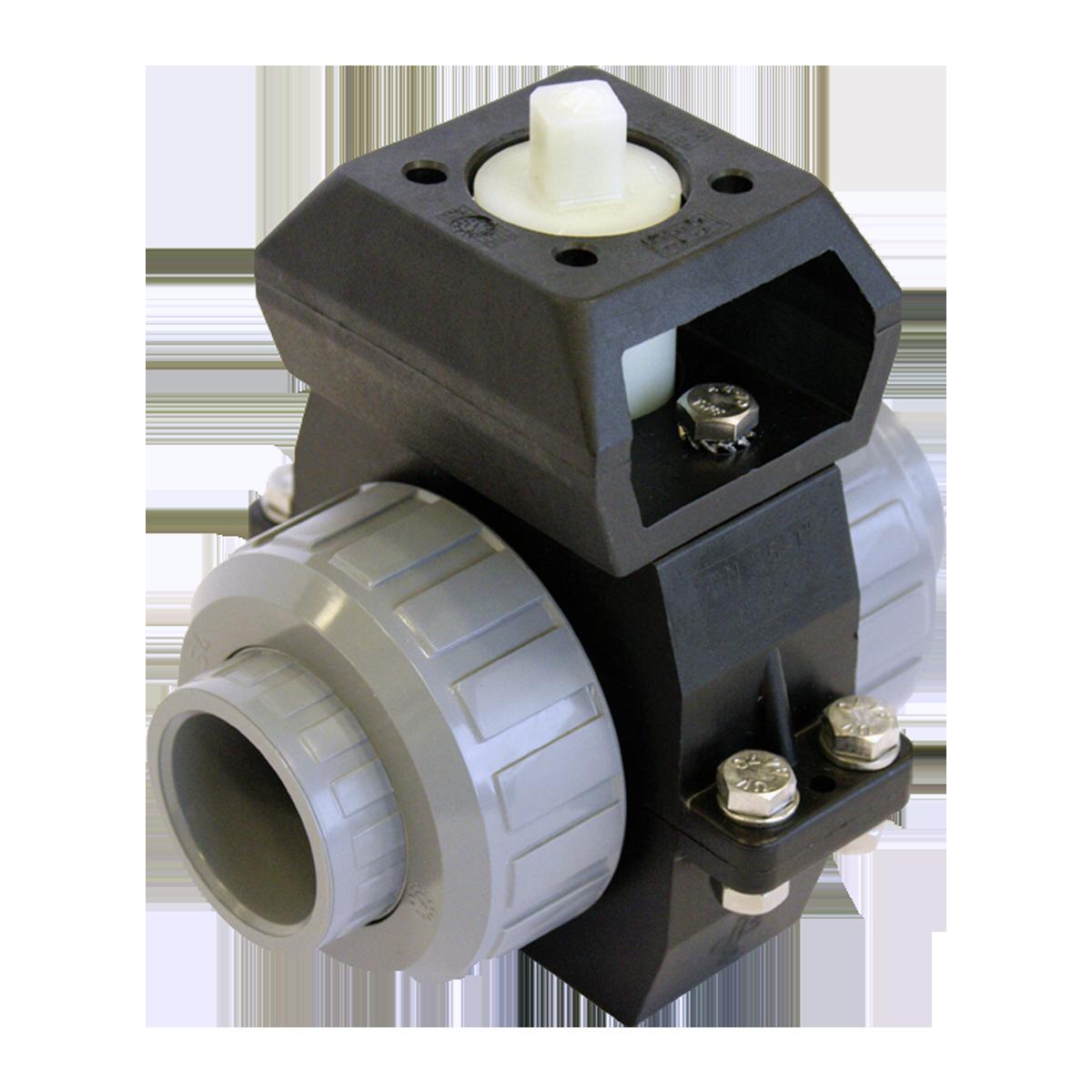 Praher 2-way ball valve S4 PVC-C with adapter set, grey, black