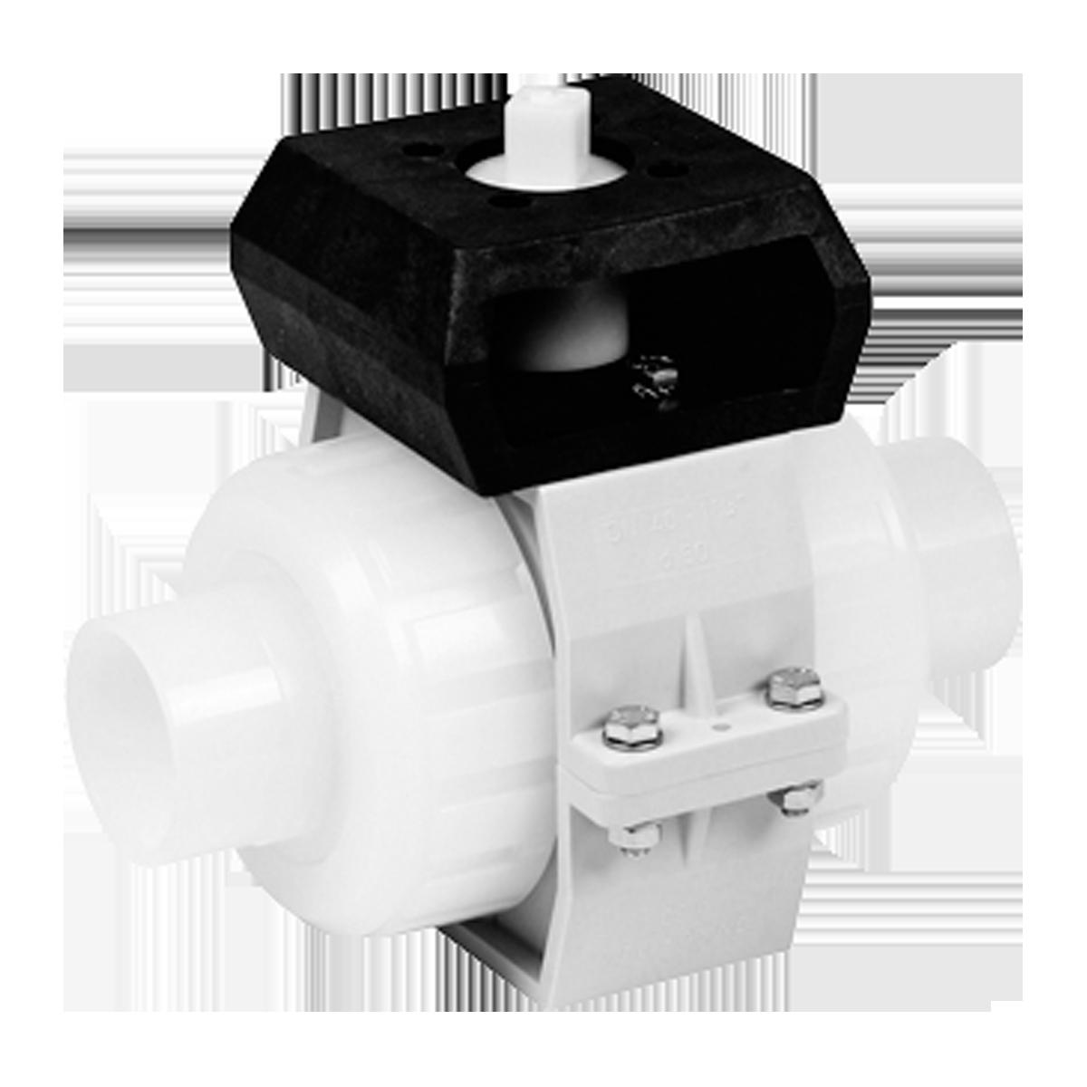 Praher 2-way ball valve S4 PVDF with adapter set, white, black