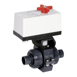 Praher 2-way ball valve S4 PVC with EO510 actuator, grey, black, white, red
