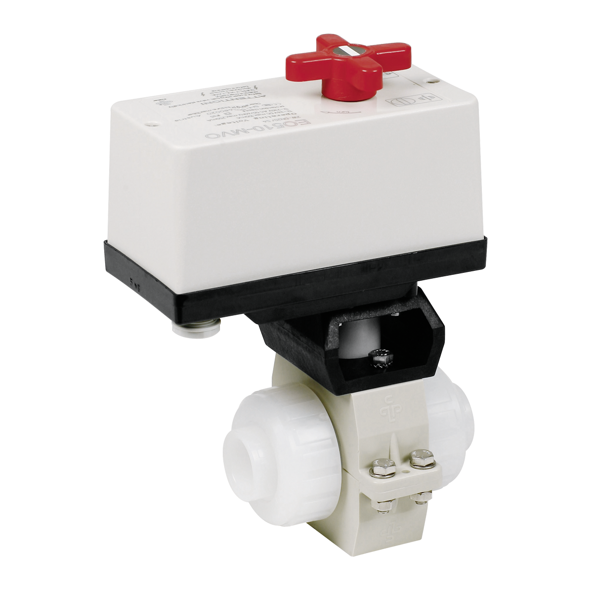 Praher 2-way ball valve S4 PVDF with EO510 actuator, white, black, red