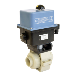 Praher 2-way ball valve S4 PP with Valpes Actuator, beige, black, blue