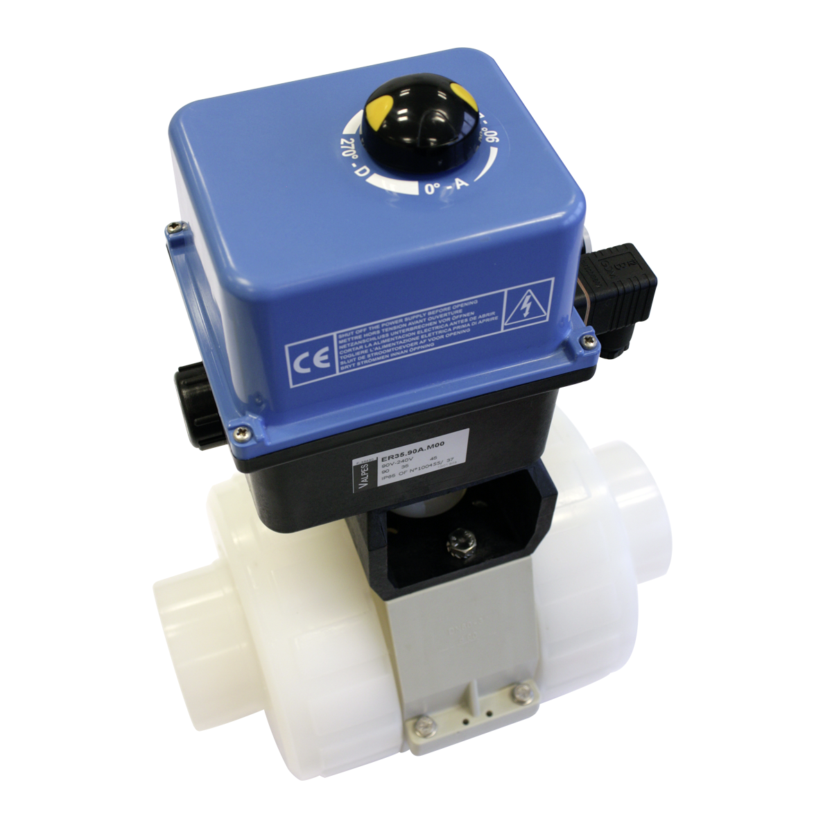 Praher 2-way ball valve S4 PVDF with Valpes actuator, white, black, blue