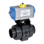 Praher 2-way ball valve S4 PVC with pneumatic actuator, grey, black, blue, silver yellow