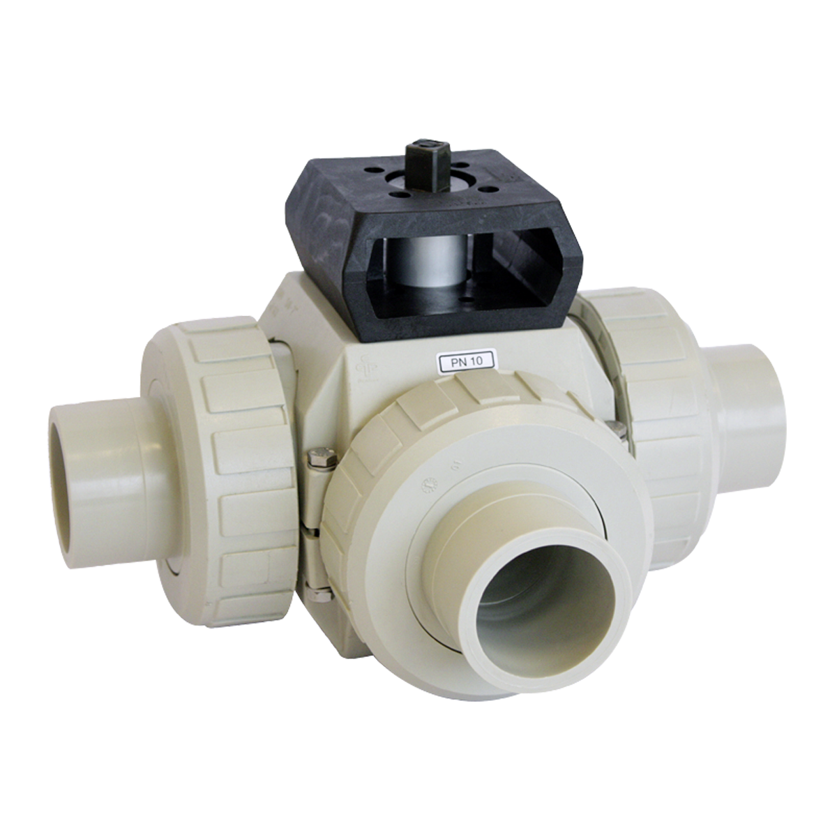 Praher 3-way ball valve S4 with adapterset PP, beige, black