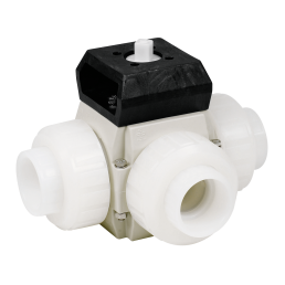Praher 3-way ball valve S4 PVDF with adapter set, white, black