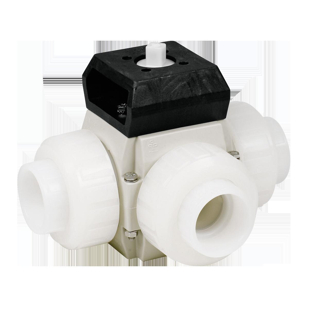 Praher 3-way ball valve S4 PVDF with adapter set, white, black