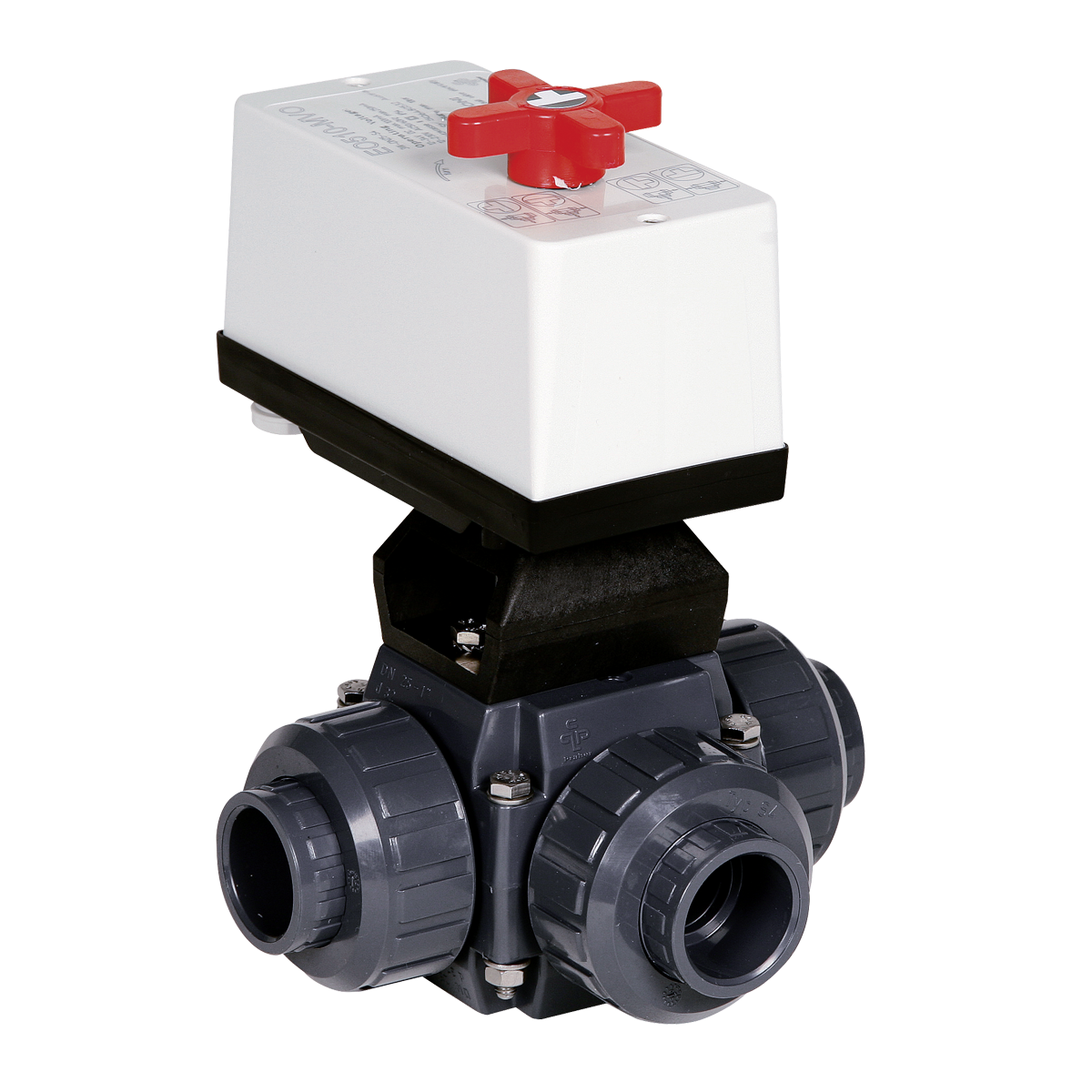 Praher 3-way ball valve S4 PVC with EO510 actuator, grey, black, white, red