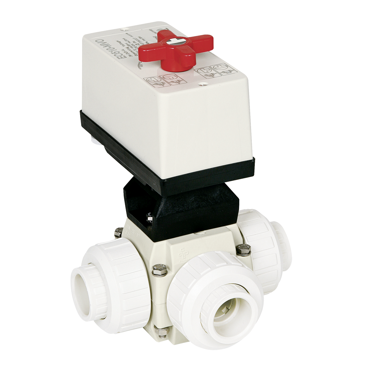 Praher 3-way ball valve S4 PVDF with EO510 actuator, white, black, red