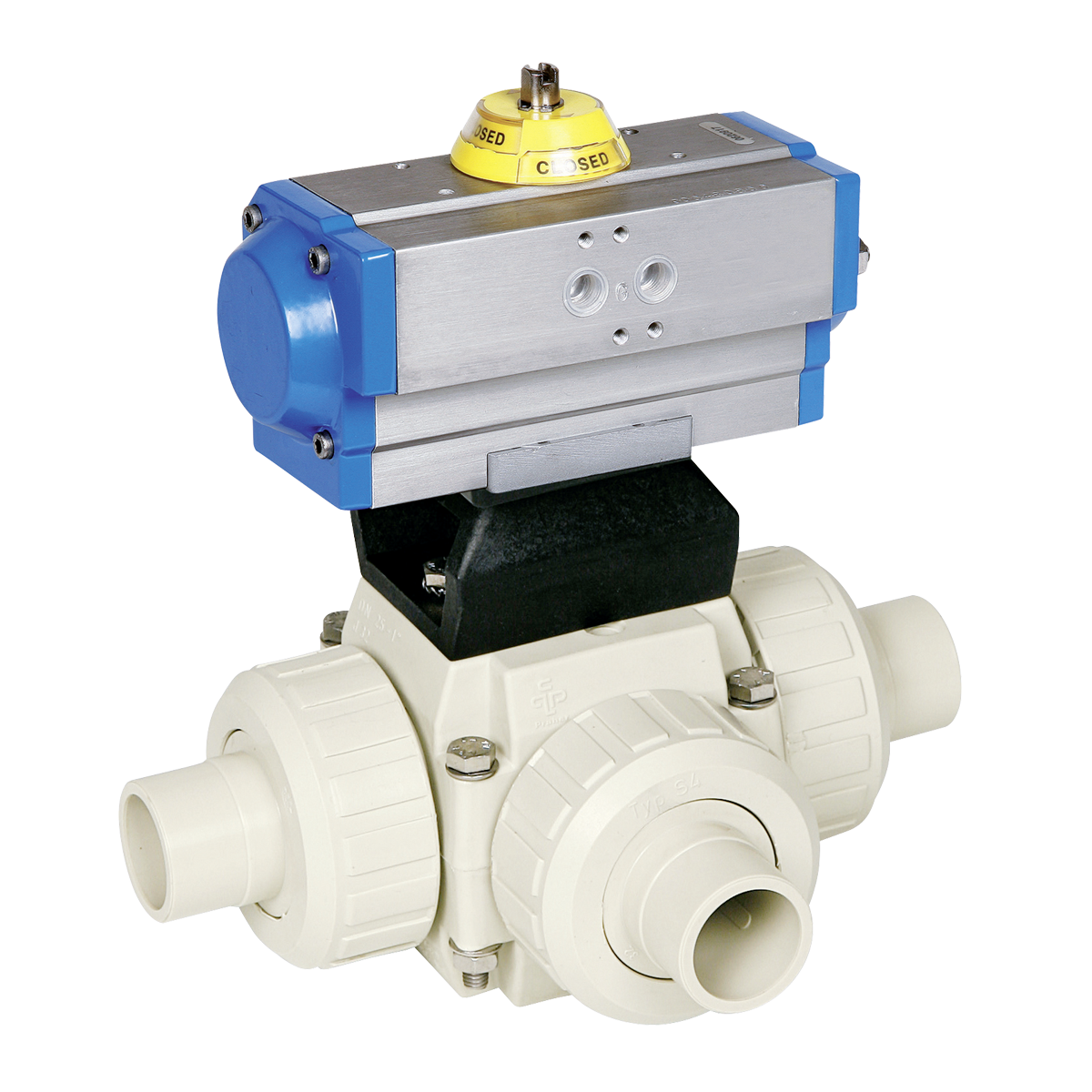Praher 3-way ball valve S4 PP with pneumatic actuator, beige, black, blue, silver, yellow