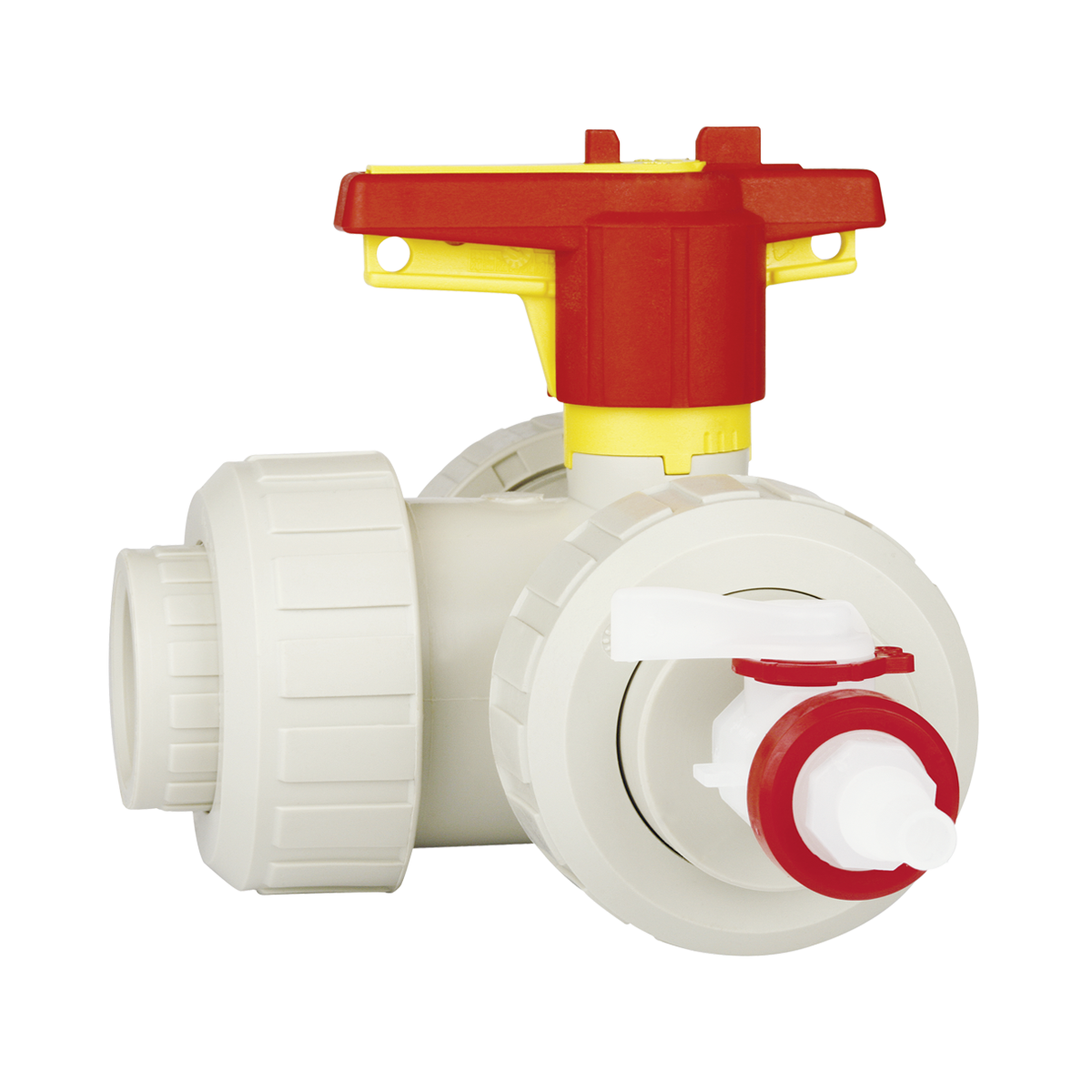 Praher 3-way ball valve PP limited, beige, red, yellow
