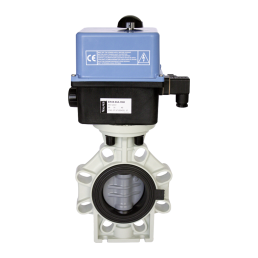 Praher butterfly valve K4 PVC-C with Valpes actuator, grey, black, blue, white