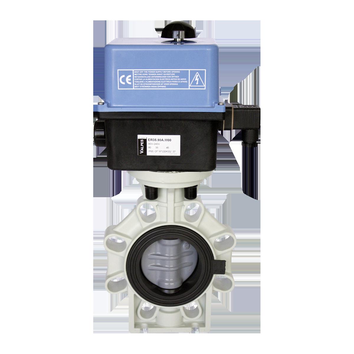 Praher butterfly valve K4 PVC-C with Valpes actuator, grey, black, blue, white