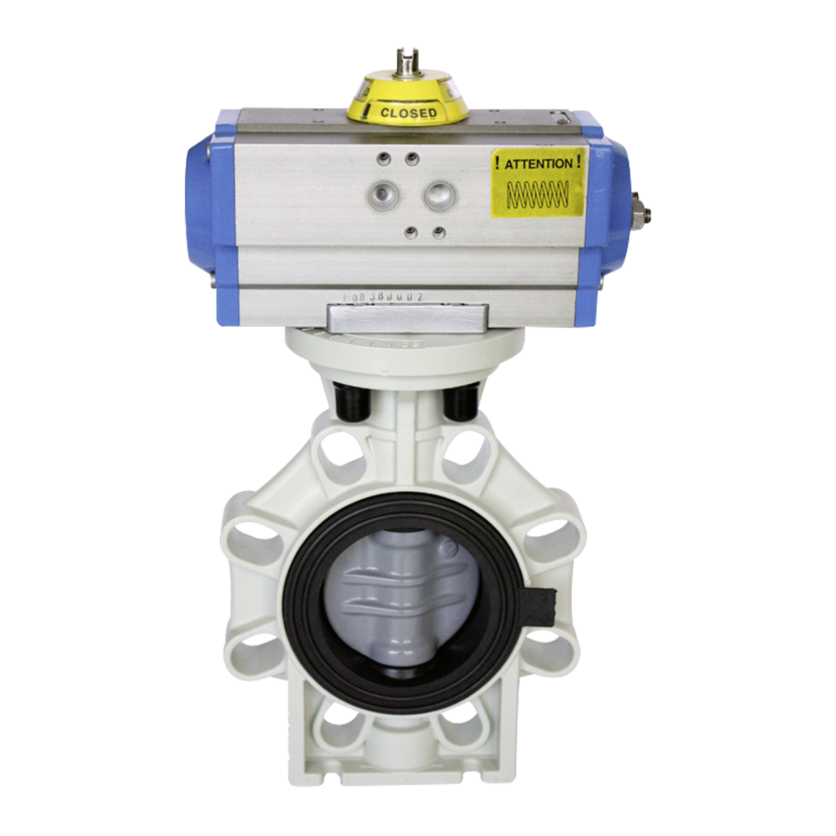 Praher butterfly valve K4 PVC-C with pneumatic actuator, grey, black, white, blue, silver, yellow