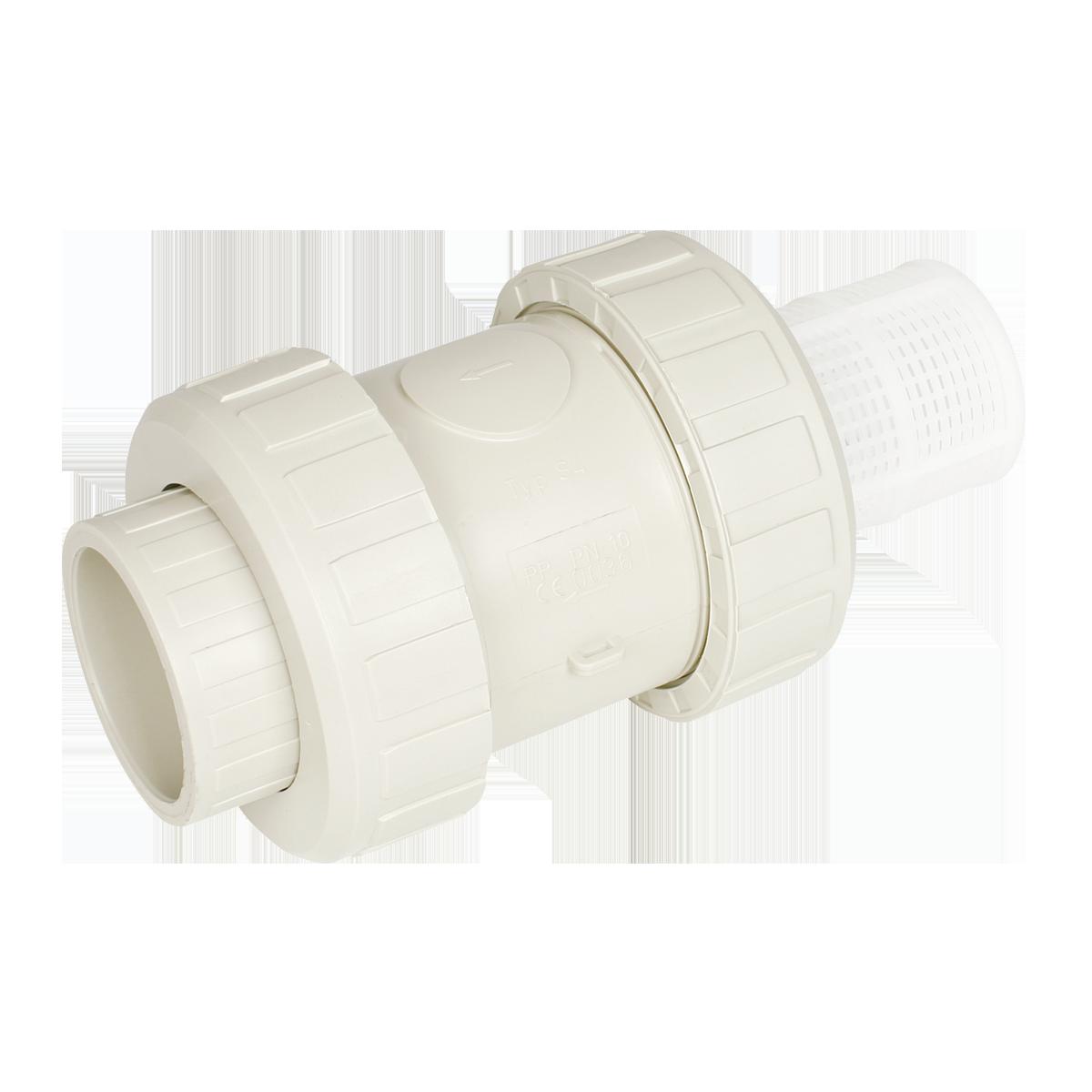Praher foot valve S4 PP, white, beige