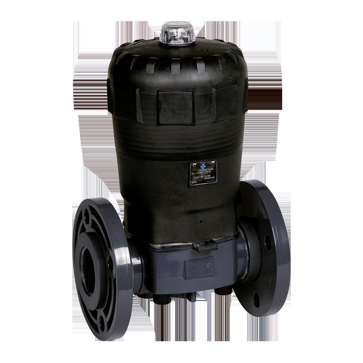 Praher Diaphragm Valve T4 PVC with pneumatic actuator, grey, black