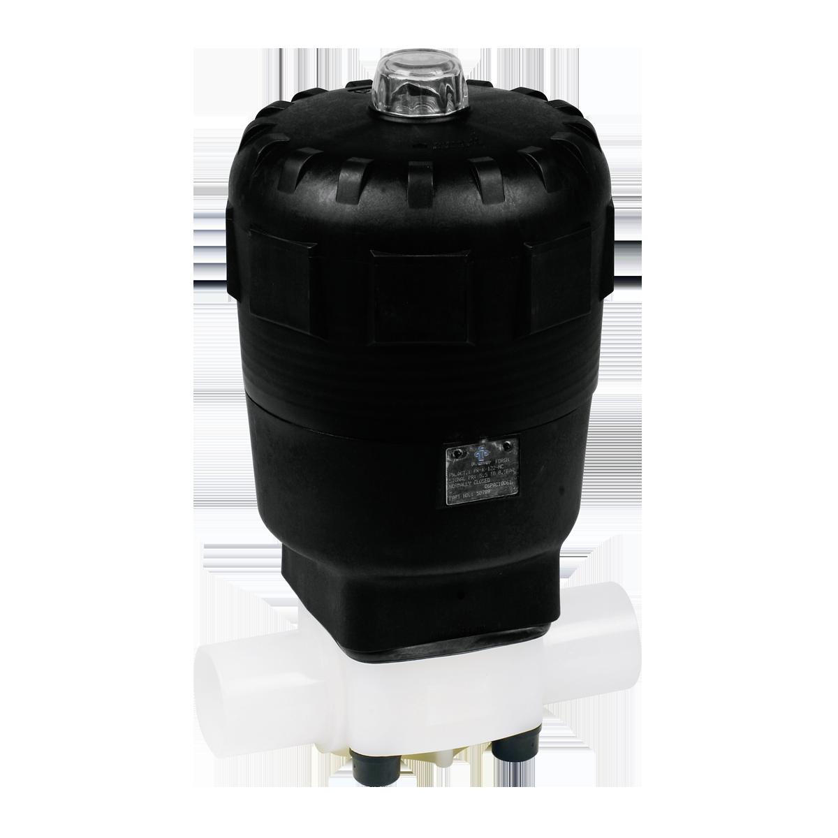 Praher Diaphragm Valve T4 PVDF with pneumatic actuator, white, black